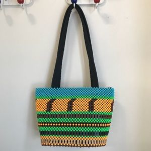 Neon plastic and wooden beads purse